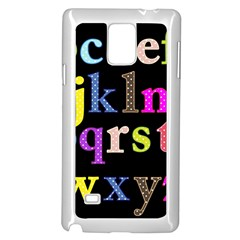 Alphabet Letters Colorful Polka Dots Letters In Lower Case Samsung Galaxy Note 4 Case (white) by Simbadda