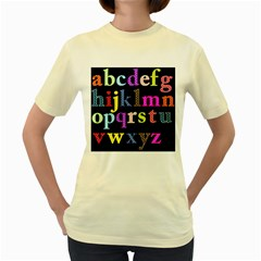 Alphabet Letters Colorful Polka Dots Letters In Lower Case Women s Yellow T Shirt by Simbadda
