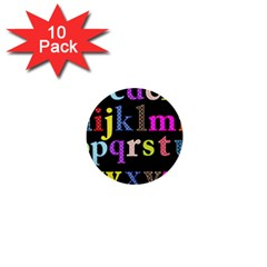 Alphabet Letters Colorful Polka Dots Letters In Lower Case 1  Mini Buttons (10 Pack)  by Simbadda