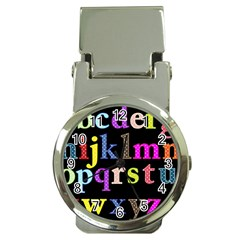 Alphabet Letters Colorful Polka Dots Letters In Lower Case Money Clip Watches by Simbadda