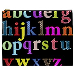 Alphabet Letters Colorful Polka Dots Letters In Lower Case Cosmetic Bag (xxxl)  by Simbadda