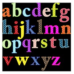Alphabet Letters Colorful Polka Dots Letters In Lower Case Large Satin Scarf (square) by Simbadda