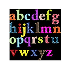 Alphabet Letters Colorful Polka Dots Letters In Lower Case Small Satin Scarf (square) by Simbadda