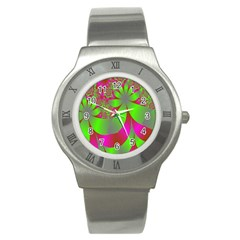Green And Pink Fractal Stainless Steel Watch by Simbadda