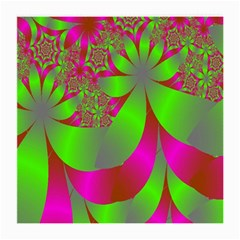Green And Pink Fractal Medium Glasses Cloth (2 Side) by Simbadda