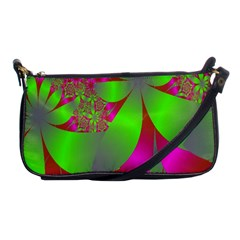 Green And Pink Fractal Shoulder Clutch Bags by Simbadda