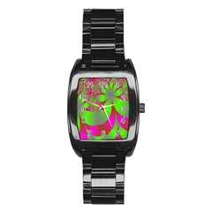 Green And Pink Fractal Stainless Steel Barrel Watch by Simbadda