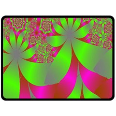 Green And Pink Fractal Double Sided Fleece Blanket (large)  by Simbadda
