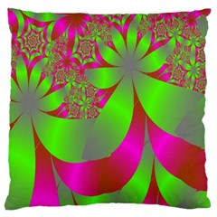 Green And Pink Fractal Large Flano Cushion Case (two Sides) by Simbadda