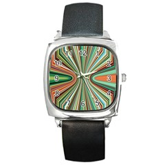 Colorful Spheric Background Square Metal Watch by Simbadda