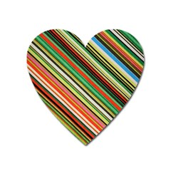Colorful Stripe Background Heart Magnet by Simbadda