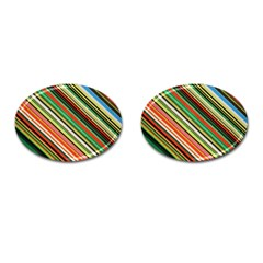 Colorful Stripe Background Cufflinks (oval) by Simbadda