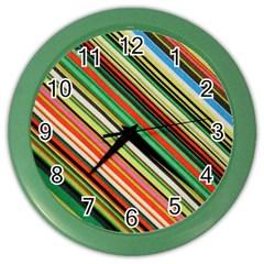 Colorful Stripe Background Color Wall Clocks by Simbadda