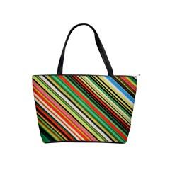 Colorful Stripe Background Shoulder Handbags by Simbadda
