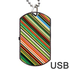 Colorful Stripe Background Dog Tag Usb Flash (two Sides) by Simbadda
