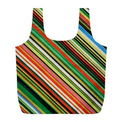 Colorful Stripe Background Full Print Recycle Bags (l)  by Simbadda