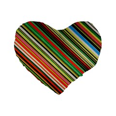 Colorful Stripe Background Standard 16  Premium Flano Heart Shape Cushions by Simbadda