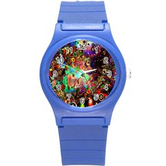 Alien World Digital Computer Graphic Round Plastic Sport Watch (s) by Simbadda