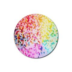 Colorful Colors Digital Pattern Rubber Coaster (round)  by Simbadda