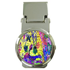 Grunge Abstract Yellow Hand Grunge Effect Layered Images Of Texture And Pattern In Yellow White Black Money Clip Watches by Simbadda
