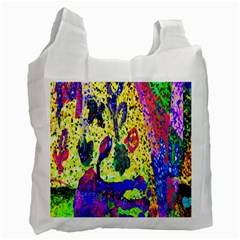 Grunge Abstract Yellow Hand Grunge Effect Layered Images Of Texture And Pattern In Yellow White Black Recycle Bag (Two Side)  by Simbadda
