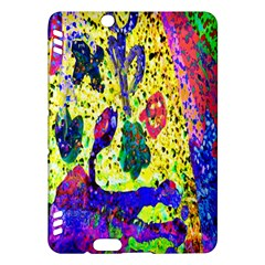 Grunge Abstract Yellow Hand Grunge Effect Layered Images Of Texture And Pattern In Yellow White Black Kindle Fire Hdx Hardshell Case by Simbadda
