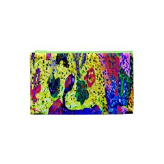 Grunge Abstract Yellow Hand Grunge Effect Layered Images Of Texture And Pattern In Yellow White Black Cosmetic Bag (xs) by Simbadda