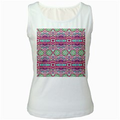 Colorful Seamless Background With Floral Elements Women s White Tank Top by Simbadda
