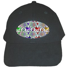 Digital Patterned Ornament Computer Graphic Black Cap by Simbadda