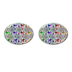 Digital Patterned Ornament Computer Graphic Cufflinks (oval) by Simbadda