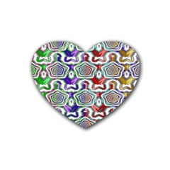 Digital Patterned Ornament Computer Graphic Rubber Coaster (heart)  by Simbadda