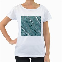 Fractal Waves Background Wallpaper Women s Loose-Fit T-Shirt (White) by Simbadda