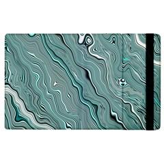 Fractal Waves Background Wallpaper Apple iPad 2 Flip Case by Simbadda