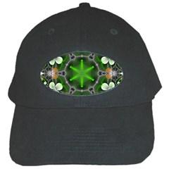 Green Flower In Kaleidoscope Black Cap by Simbadda
