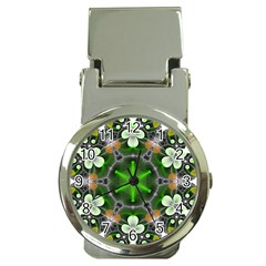 Green Flower In Kaleidoscope Money Clip Watches by Simbadda