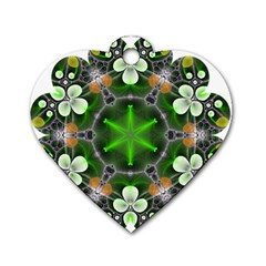 Green Flower In Kaleidoscope Dog Tag Heart (one Side) by Simbadda