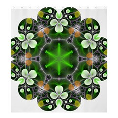 Green Flower In Kaleidoscope Shower Curtain 66  X 72  (large)  by Simbadda