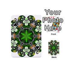 Green Flower In Kaleidoscope Playing Cards 54 (mini)  by Simbadda
