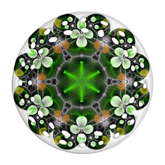 Green Flower In Kaleidoscope Round Filigree Ornament (two Sides) by Simbadda