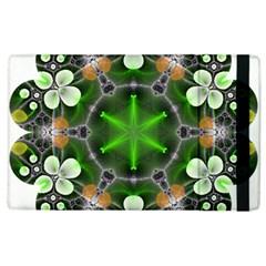 Green Flower In Kaleidoscope Apple Ipad 3/4 Flip Case by Simbadda