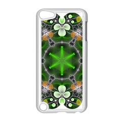 Green Flower In Kaleidoscope Apple iPod Touch 5 Case (White)