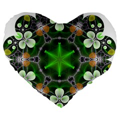 Green Flower In Kaleidoscope Large 19  Premium Heart Shape Cushions by Simbadda