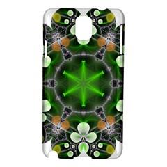 Green Flower In Kaleidoscope Samsung Galaxy Note 3 N9005 Hardshell Case by Simbadda