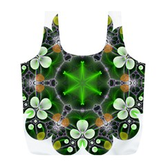 Green Flower In Kaleidoscope Full Print Recycle Bags (l)  by Simbadda