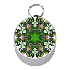 Green Flower In Kaleidoscope Mini Silver Compasses by Simbadda