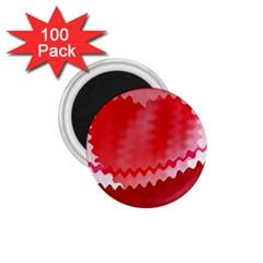 Red Fractal Wavy Heart 1 75  Magnets (100 Pack)  by Simbadda