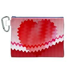 Red Fractal Wavy Heart Canvas Cosmetic Bag (xl) by Simbadda