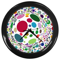Color Ball Wall Clocks (black) by Mariart