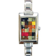 Background With Color Layered Tiling Rectangle Italian Charm Watch by Simbadda