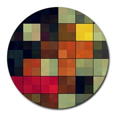 Background With Color Layered Tiling Round Mousepads by Simbadda